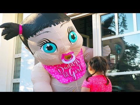 Ali and Adriana pretend play with giant baby doll Outdoor playground Fun video for children