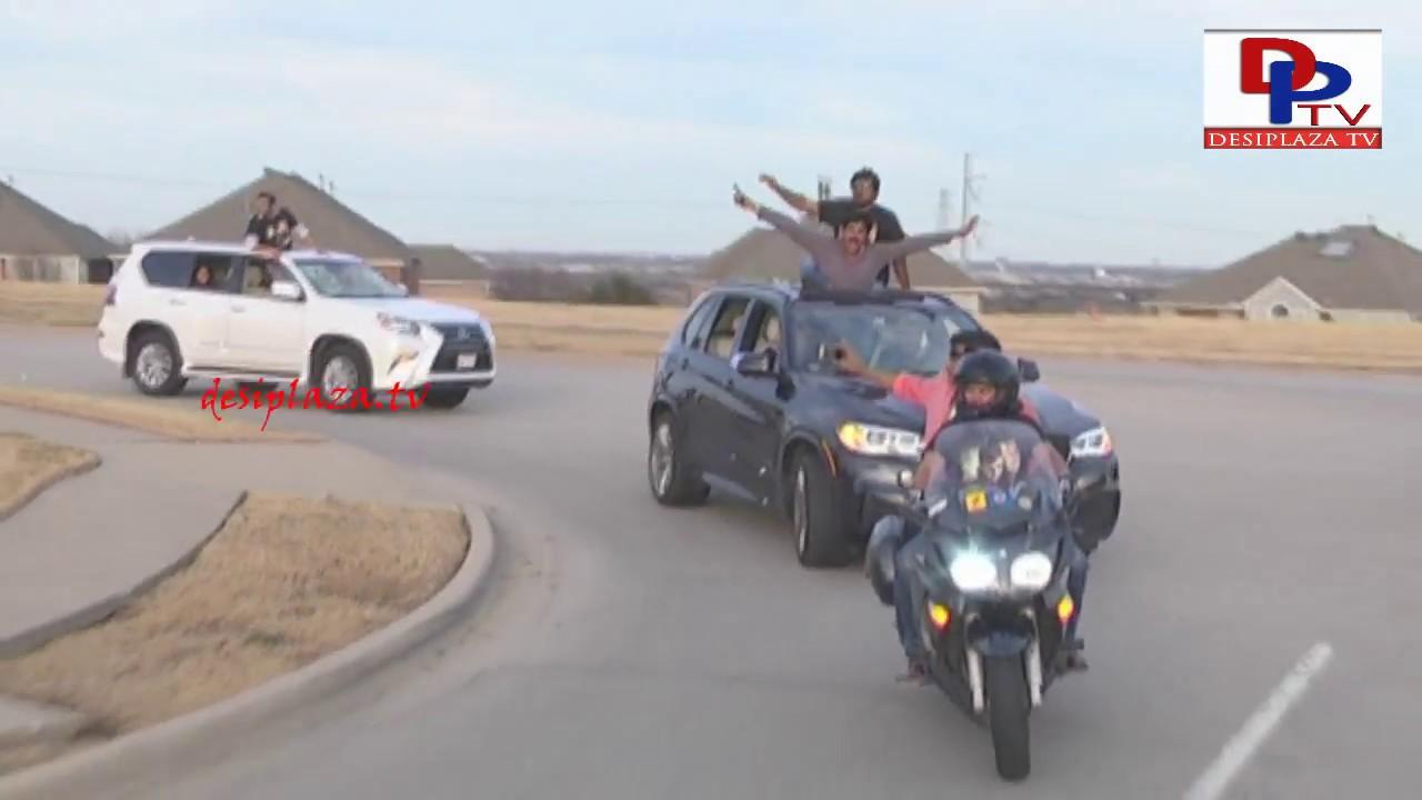 Car Rally Arriving Regal Theaters Megastar Chiranjeevi Khaidi No 150 Release Hungama in Dallas