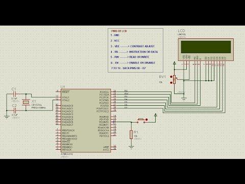 Interfacing 16 x 2 alphanumeric LCD with ATMEGA 16 - Proteus and Codevision