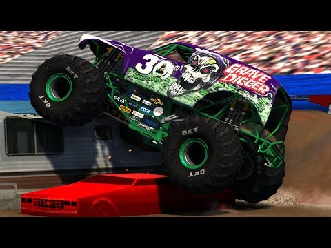 16 Breakable Grave Digger Truck Freestyle - BeamNG.Drive Monster Jam