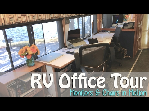RV Office Tour - Computer Monitors & Rolling Chairs in Motion