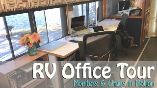 RV Office Tour - Computer Monitors & Rolling Chairs in Motion(When we bought our bus in 2011, we specifically looked for something we could convert for very usable workspace for two with big monitors and rolling chairs., 2017-02-08T20:53:59.000Z)