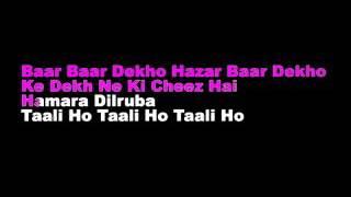 Baar Baar Dekho Hindi Karaoke With Lyrics