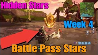 Fortnite Battle Royale! Hidden Battle Pass Stars Week 4! Vehicle tower Rock Sculpture,Bushes