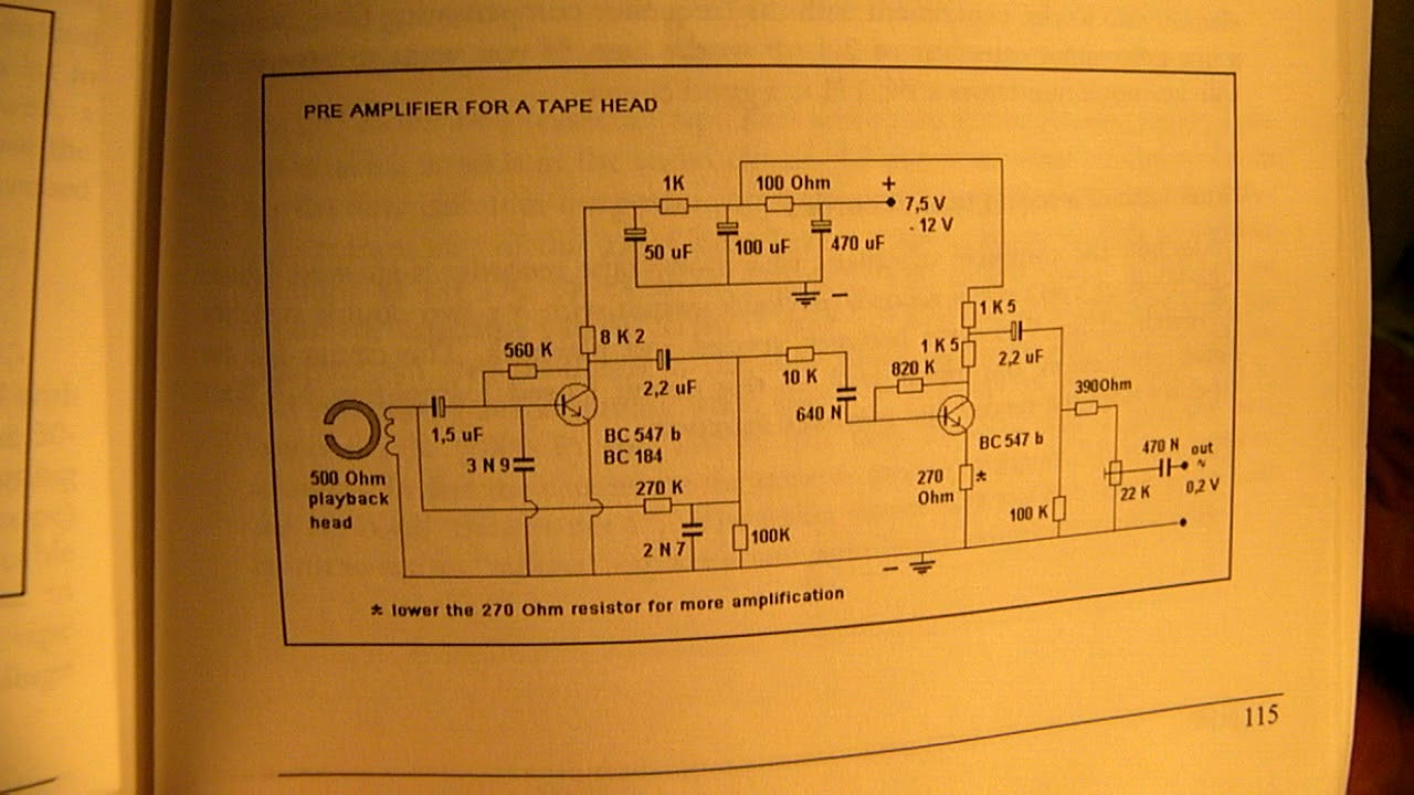 tape recorder electronics how to make it pt 4 pre amp circuit for a tape rec play head [ 1280 x 720 Pixel ]