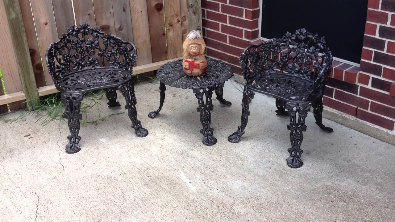 old rusty patio furniture sprayed with rustoleum spray paint youtube