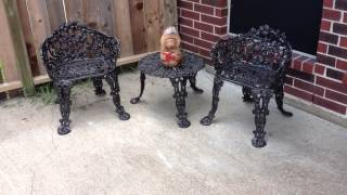 Diy - Old Rusty Patio Furniture Sprayed With Rustoleum Spray Paint