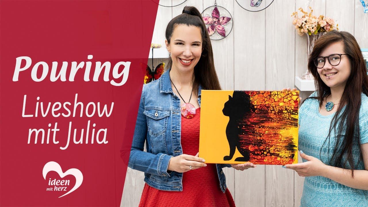 Pouring - Facebook live vom 9.9.9 - Basteln mit Julia - Ideen mit Herz