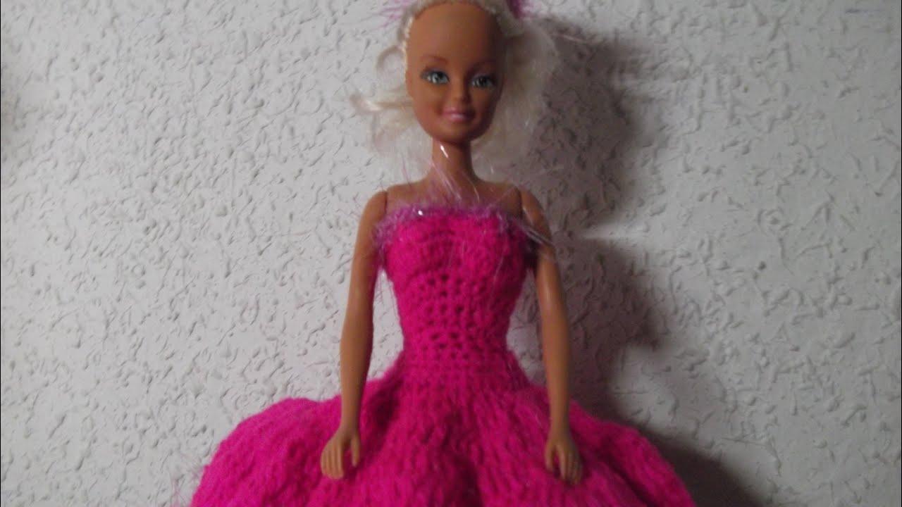 Vestido de fiesta muñeca tipo Barbie crochet - YouTube