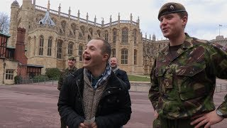 Sam visits his brother at Windsor Castle guarding the Queen!