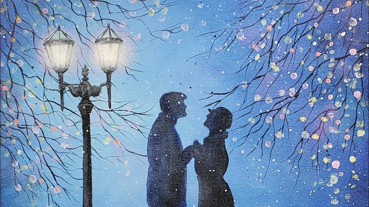 Easy Street Lamp Christmas Romance Acrylic Painting Live Tutorial Paintingtube