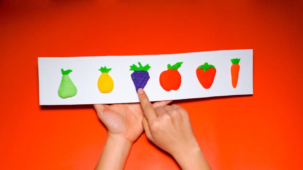 Đồ chơi đất sét play doh nặn trái dâu, táo, nho, lê, đào, cà rốt – How to make Play doh fruit