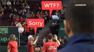 [HD] Denis Shapovalov hits umpire in the face | defaults Canada from Davis Cup