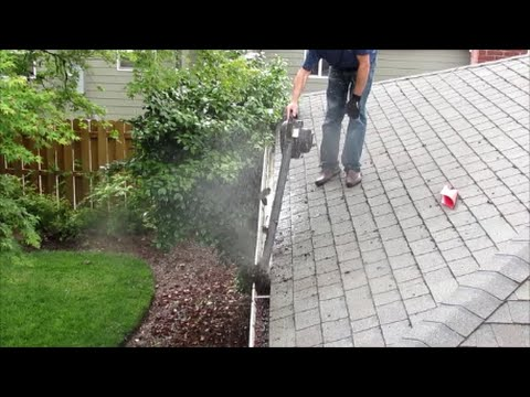 How To Clean Gutters The Easy Way Leaf Blower Youtube