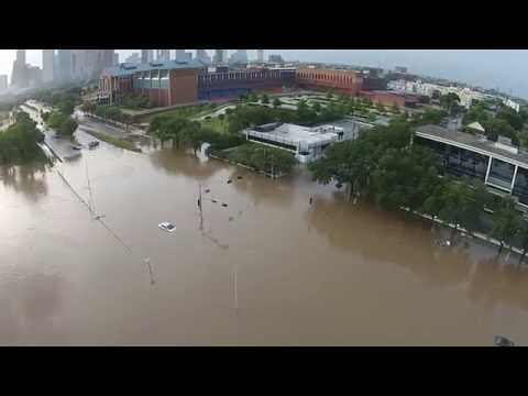 Drone Footage of Houston Flooding - Buffalo Bayou - Downtown