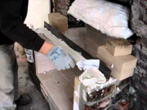 fire brick and angle piece installation - YouTube