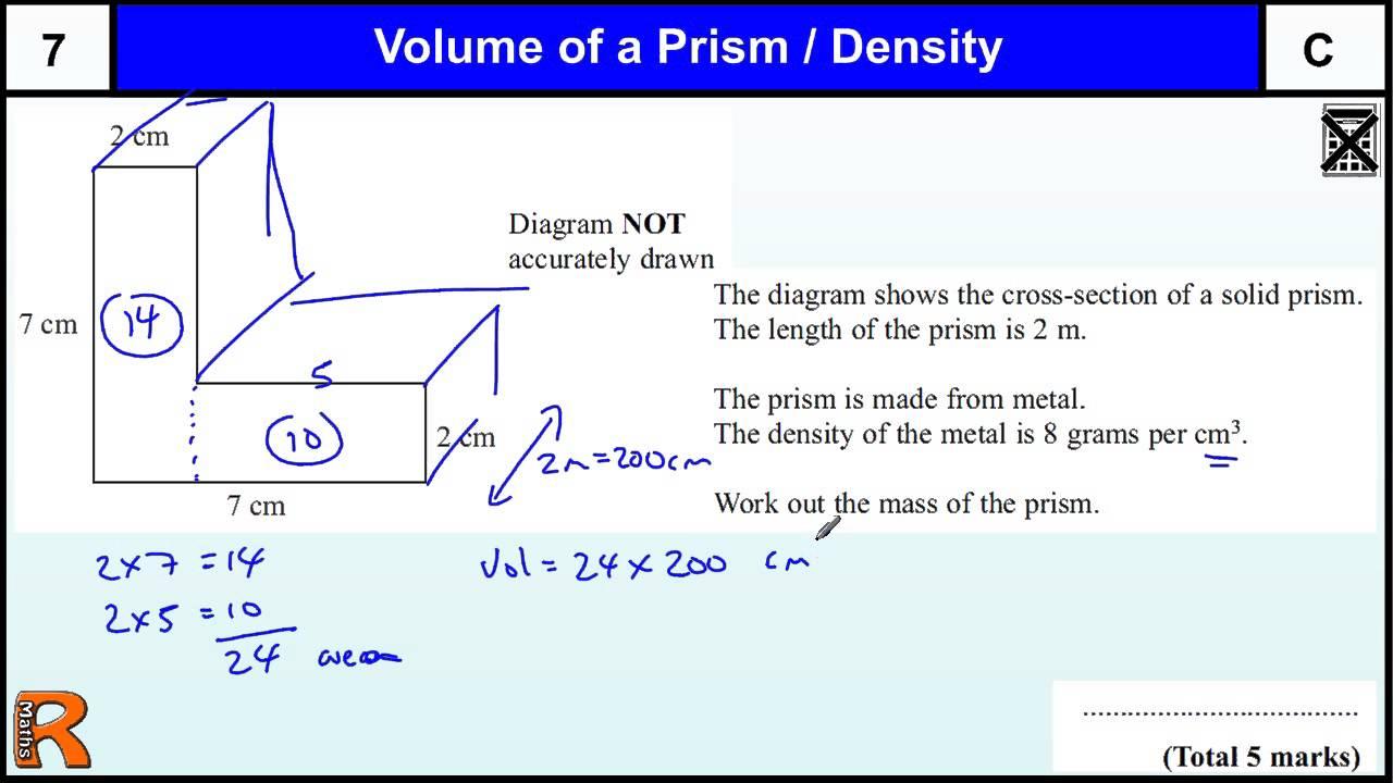 Volume Of Prism And Density Gcse Maths Higher Foundation