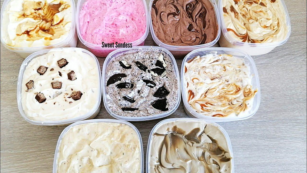 آيس كريم ب9 نكهات بدون اروم سهلة و اقتصادية ?/ ice cream /banana split / مثلجات ب9نكهات تحفة ❄️