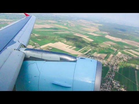 Sunny Takeoff and Rainy Landing. Airbus A320. Wien-Milan Malpensa. Flight Austrian OS513