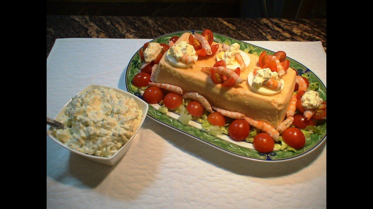 Receta Pastel de salmón y gambas con salsa tártara - Recetas de cocina, paso a paso, tutorial