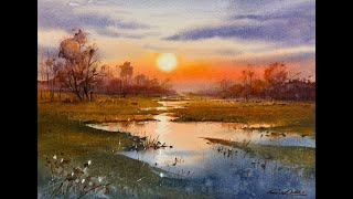 How to paint landscape in watercolor painting demo by javid tabatabaei