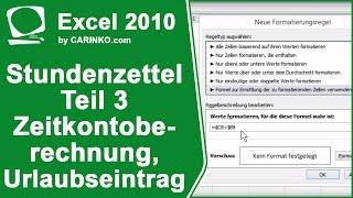 Stundenzettel Zeiterfassung in Excel erstellen Teil 3 - carinko.com