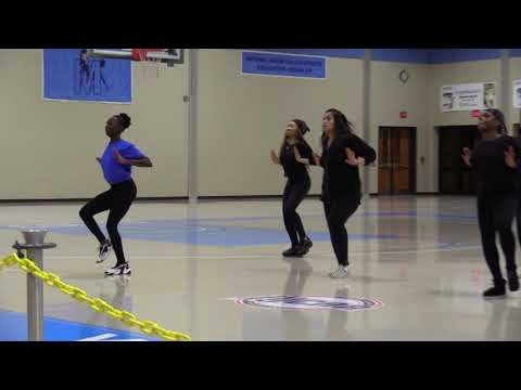 Middlesex County College Step Dancers perform at halftime in yesterdays basketball game.