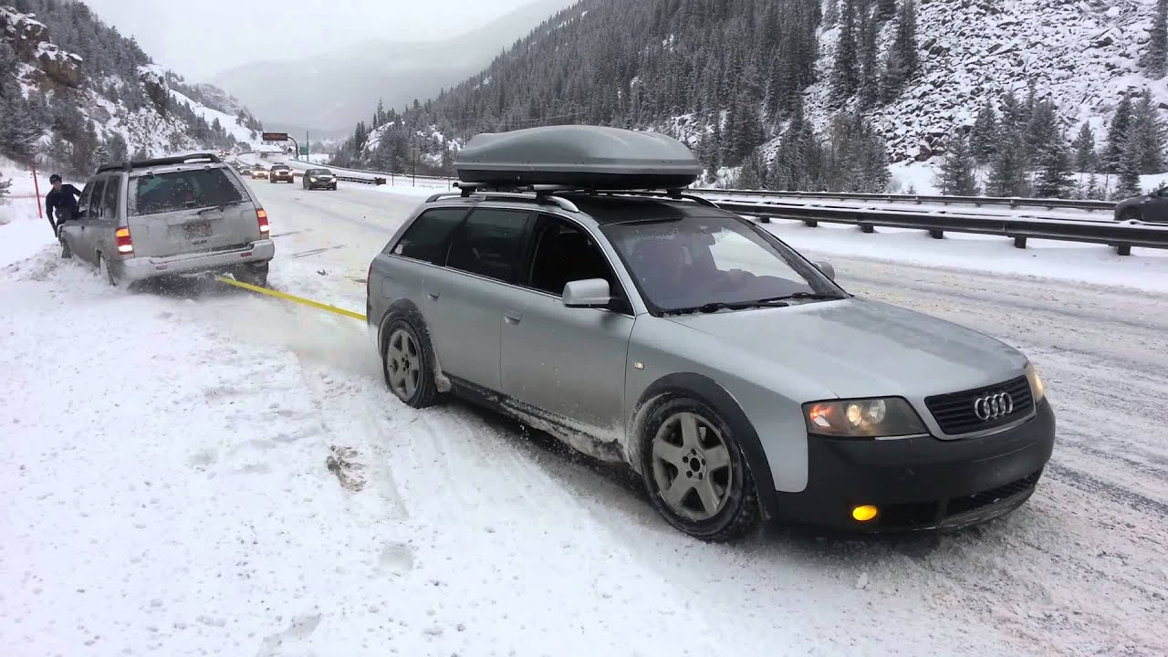 Allroad pulls Pathfinder out of snow bank. - YouTube