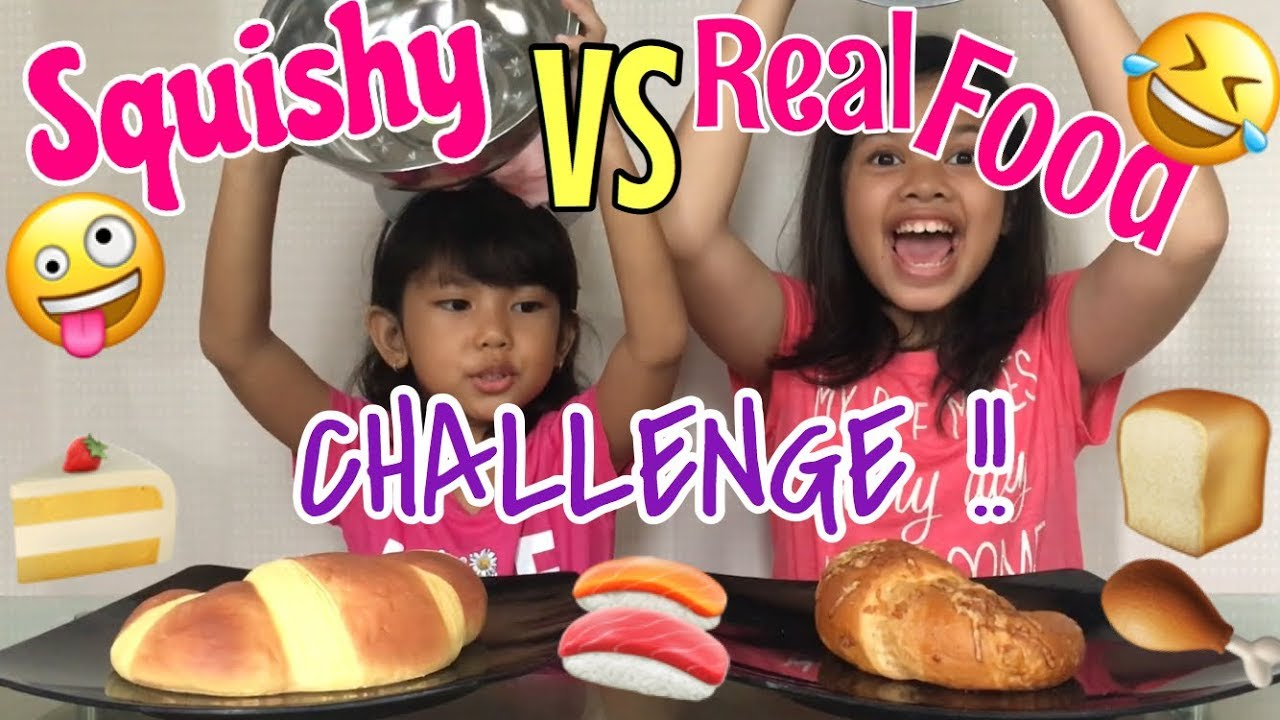 Squishy Toys Vs Real Food : SERUU!! ???? SQUISHY VS REAL FOOD CHALLENGE with Cousin ? - YouTube