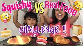 SERUU!! 🤪🤣| SQUISHY VS REAL FOOD CHALLENGE with Cousin ❤️