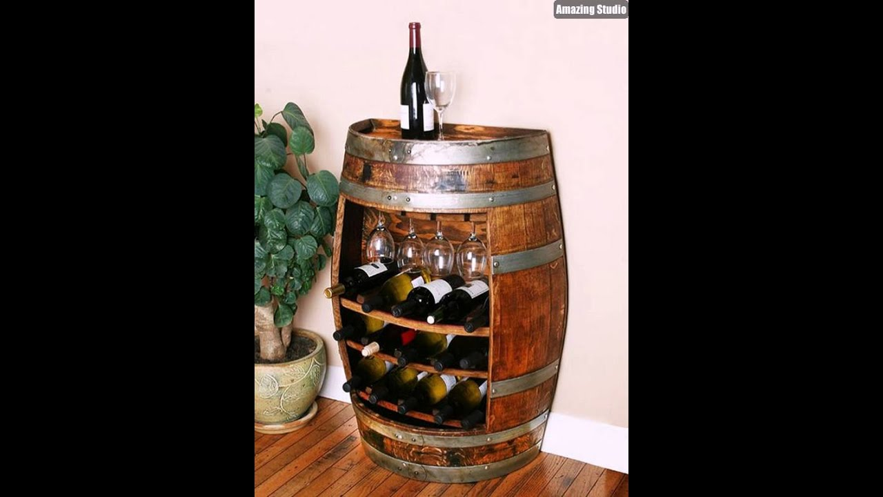 DIY Wine Barrel Bar Storage - YouTube