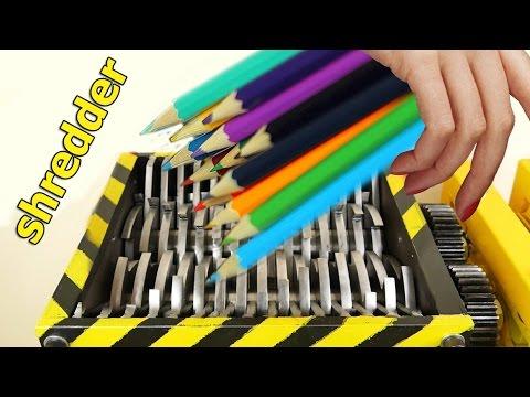 EXPERIMENT Shredding:  pencil, cigarettes, lists, plastic! - Satisfying video
