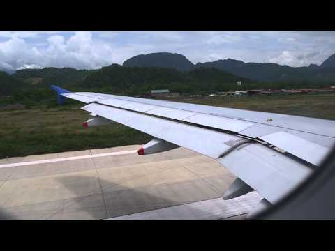 Lao Airline's A320 taking off the Luangphabang Airport, Laos