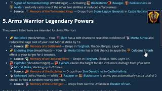 Best Warrior Legendaries How To Get Them Wow Shadowlands 9 0 Legendary Guide Youtube