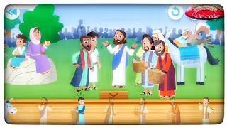 5 roti dan 2 ikan. Film anak sekolah Minggu Tuhan Yesus memberi makan 5000 orang
