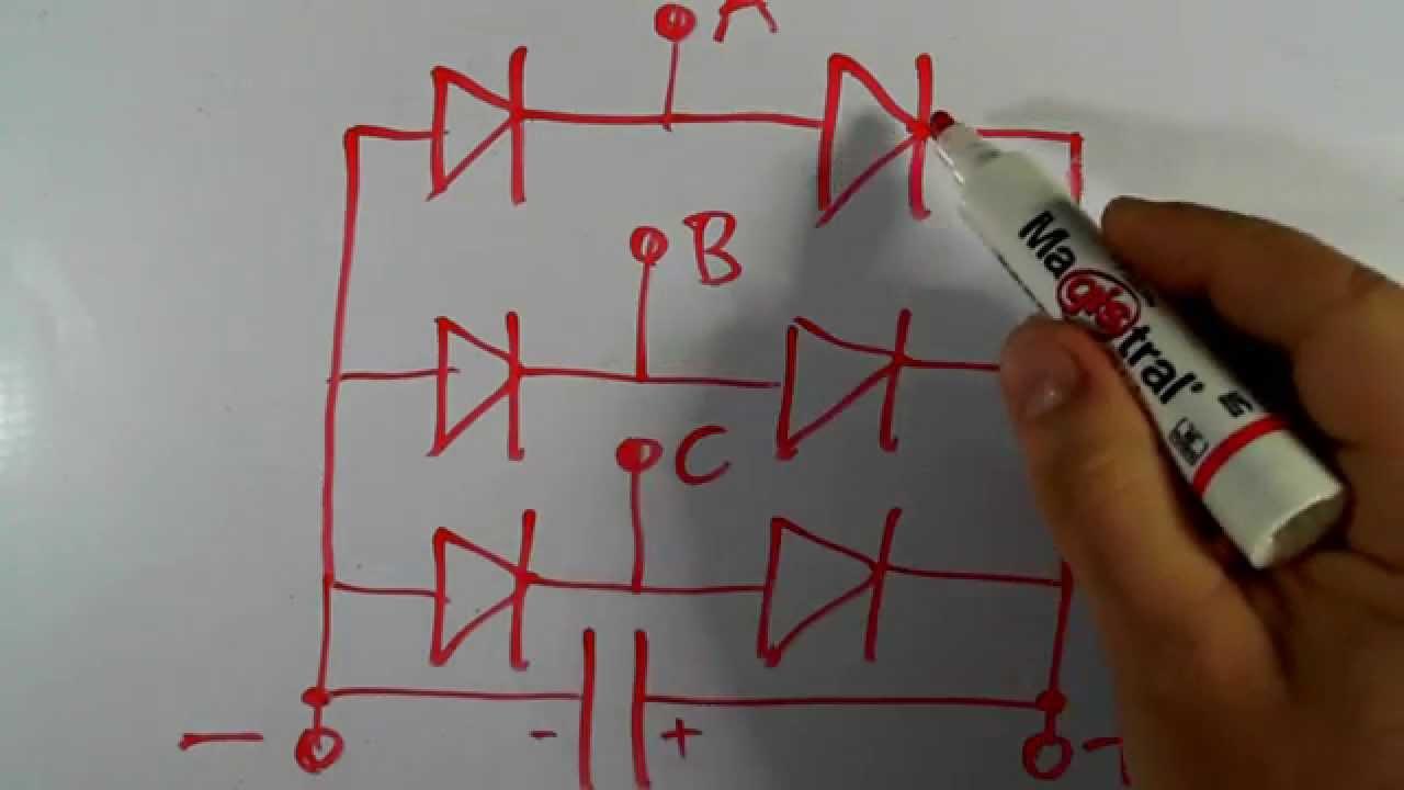 Diagrama de Puente de Diodos para Generador/Alternador