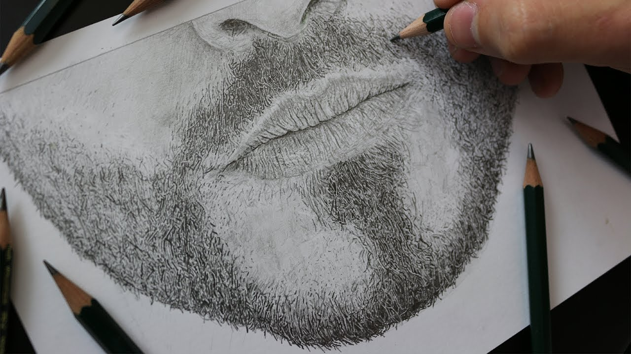 How To Draw: REALISTIC FACIAL HAIR with Pencil - TUTORIAL ...