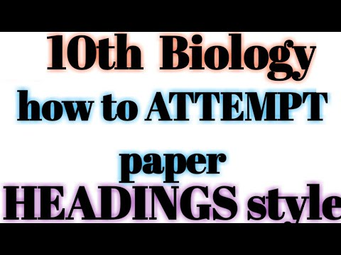 how to give headings for 10th biology