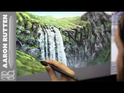 Digital Art Speed Painting Landscape - Icelandic Wateerfall (Corel Painter 2018 & Cintiq 27 QHD)