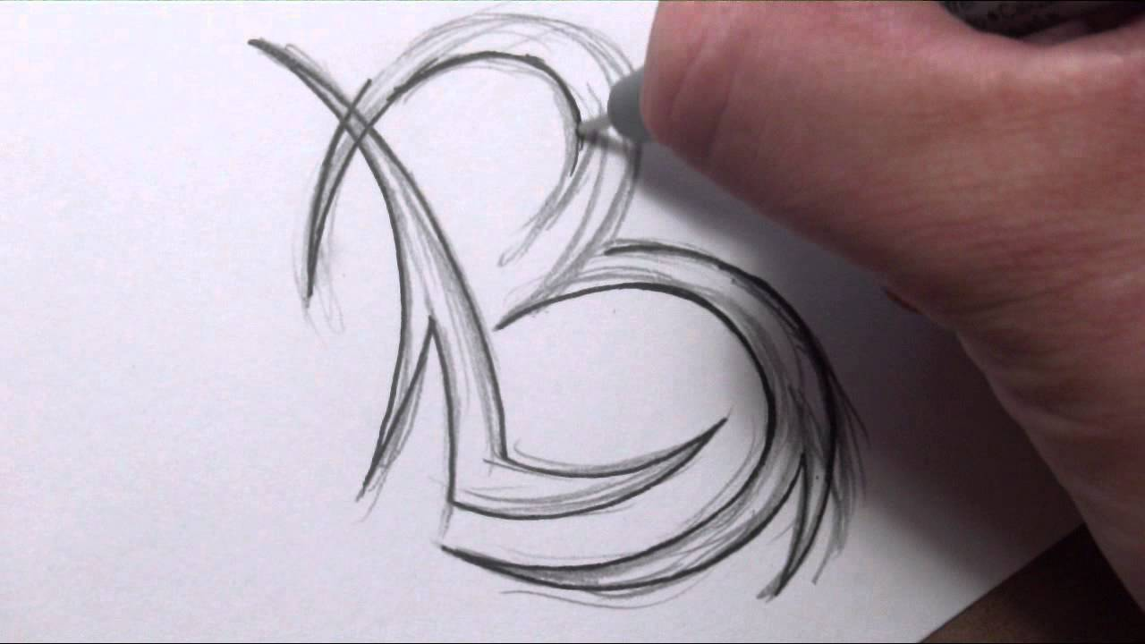 drawing initials tattoo design combining two letters youtube