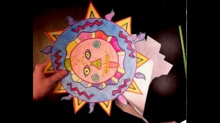 Aztec Sun coloring cutting gluing (3 of 4)