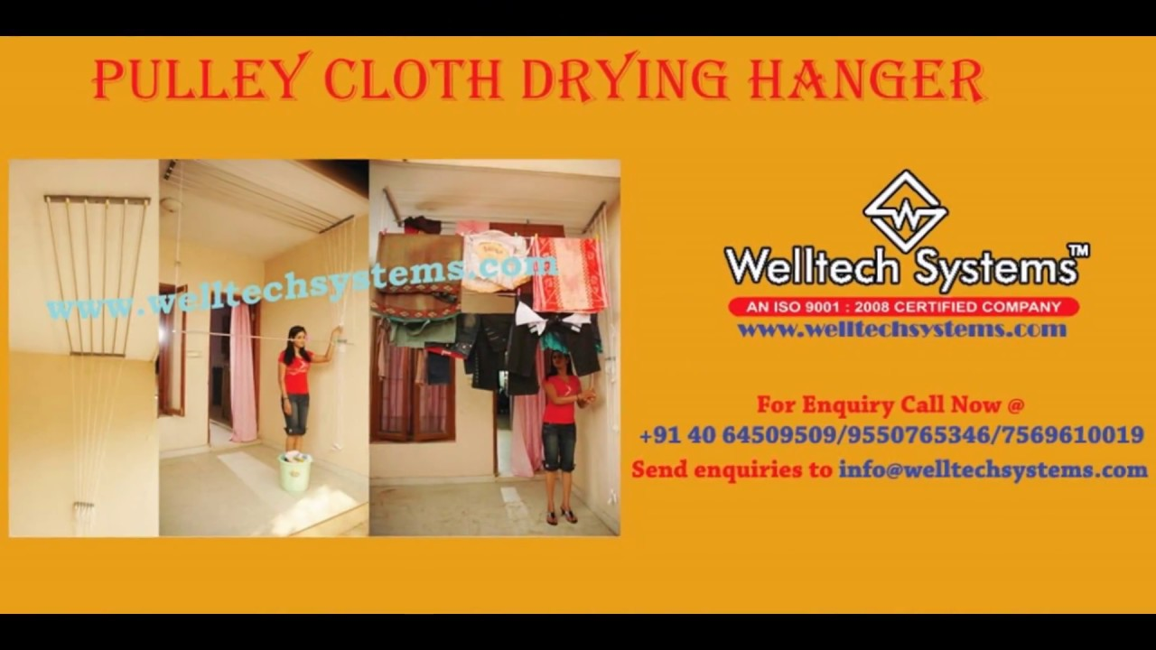 Pulley Cloth Drying Hanger Ceiling Hangers Youtube