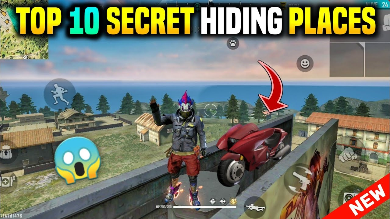 TOP 10 SECRET HIDING PLACES IN FREE FIRE 2020 || TOP 10 SECRET LOCATIONS - GARENA FREE FIRE