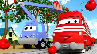 troy the train and chuck the cherry picker in car city   cars trucks cartoon for children