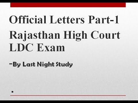 Rajasthan High Court LDC Typing Test- Official Letter Format - YouTube - official letters format