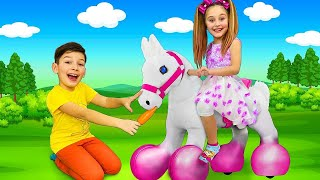 Sasha and Max save the Unicorn Horse and give gifts to friends Face...