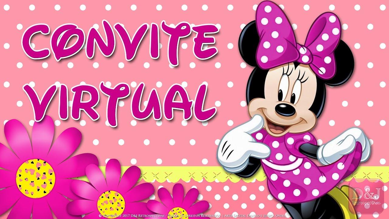 Convite Virtual Minnie Rosa Youtube