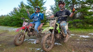 Pit Bike Race in the Muddiest Conditions