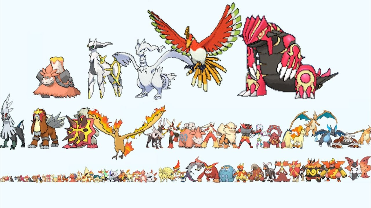 All Fire Pokemon From Smallest To Biggest Youtube