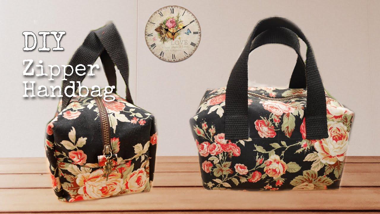 Diy bag|zipper handbag| marsuppium|easy sewing| ハンドバッグ|sac| हैंडबैग |กระเป๋าผ้า| |Maejam maaja